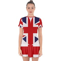 Uk Flag United Kingdom Drop Hem Mini Chiffon Dress by Celenk