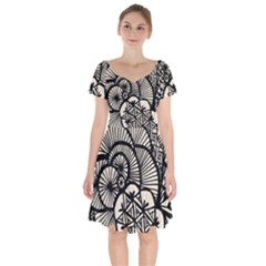 Background Abstract Beige Black Short Sleeve Bardot Dress by Celenk