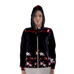 Circle Lines Wave Star Abstract Hooded Wind Breaker (women) by Celenk