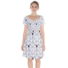 Pattern Zentangle Handdrawn Design Short Sleeve Bardot Dress by Celenk