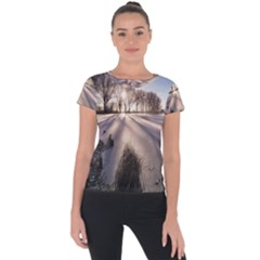 Winter Lake Cold Wintry Frozen Short Sleeve Sports Top  by Celenk