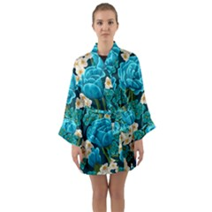 Light Blue Roses And Daisys Long Sleeve Kimono Robe by allthingseveryone