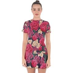 Pink Roses And Daisies Drop Hem Mini Chiffon Dress by allthingseveryone
