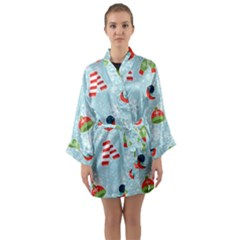 Winter Fun Pattern Long Sleeve Kimono Robe