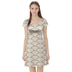 Art Deco,japanese Fan Pattern, Gold,white,vintage,chic,elegant,beautiful,shell Pattern, Modern,trendy Short Sleeve Skater Dress by 8fugoso