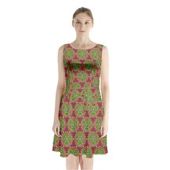 Red Green Flower Of Life Drawing Pattern Sleeveless Waist Tie Chiffon Dress by Cveti