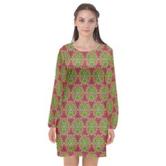 Red Green Flower Of Life Drawing Pattern Long Sleeve Chiffon Shift Dress  by Cveti