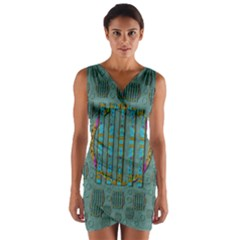 Freedom Is Every Where Just Love It Pop Art Wrap Front Bodycon Dress by pepitasart