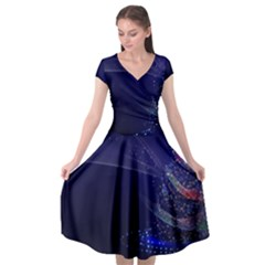 Christmas Tree Blue Stars Starry Night Lights Festive Elegant Cap Sleeve Wrap Front Dress by yoursparklingshop