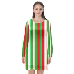 Christmas Holiday Stripes Red Long Sleeve Chiffon Shift Dress  by Celenk