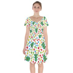 Pattern Circle Multi Color Short Sleeve Bardot Dress by Celenk