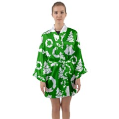 Green White Backdrop Background Card Christmas Long Sleeve Kimono Robe
