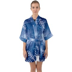 Snowflakes Background Blue Snowy Quarter Sleeve Kimono Robe by Celenk