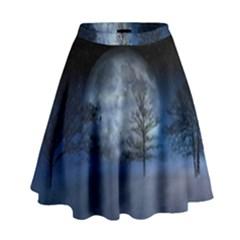 Winter Wintry Moon Christmas Snow High Waist Skirt