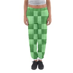 Wool Ribbed Texture Green Shades Women s Jogger Sweatpants by Celenk