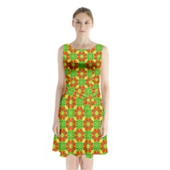 Pattern Texture Christmas Colors Sleeveless Waist Tie Chiffon Dress by Celenk