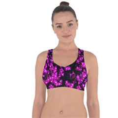 Abstract Background Purple Bright Cross String Back Sports Bra by Celenk