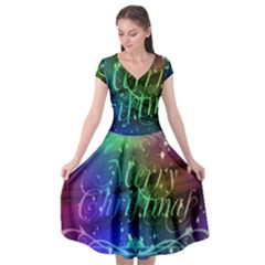 Christmas Greeting Card Frame Cap Sleeve Wrap Front Dress by Celenk