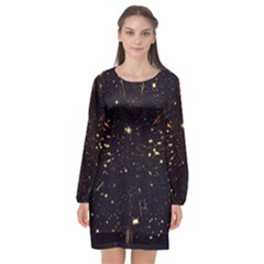 Star Sky Graphic Night Background Long Sleeve Chiffon Shift Dress  by Celenk