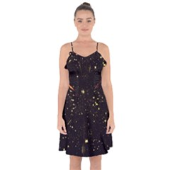 Star Sky Graphic Night Background Ruffle Detail Chiffon Dress by Celenk