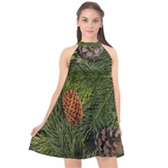 Branch Christmas Cone Evergreen Halter Neckline Chiffon Dress  by Celenk