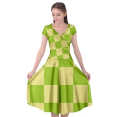 Green And Yellow (square Pattern) Cap Sleeve Wrap Front Dress by berwies