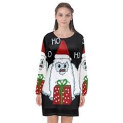 Yeti Xmas Long Sleeve Chiffon Shift Dress  by Valentinaart