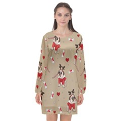 Pug Xmas Pattern Long Sleeve Chiffon Shift Dress  by Valentinaart