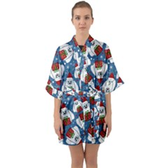 Yeti Xmas Pattern Quarter Sleeve Kimono Robe by Valentinaart