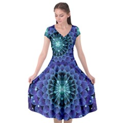 Accordant Electric Blue Fractal Flower Mandala Cap Sleeve Wrap Front Dress by jayaprime