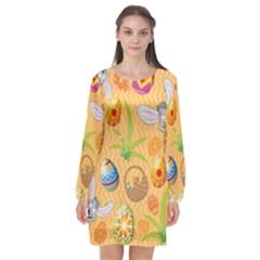 Easter Bunny And Egg Basket Long Sleeve Chiffon Shift Dress
