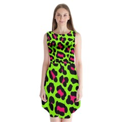 Neon Green Leopard Print Sleeveless Chiffon Dress   by allthingseveryone