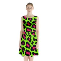 Neon Green Leopard Print Sleeveless Waist Tie Chiffon Dress by allthingseveryone
