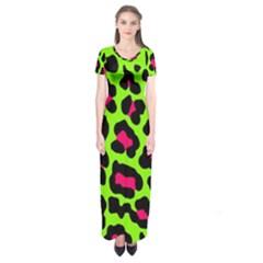 Neon Green Leopard Print Short Sleeve Maxi Dress by allthingseveryone