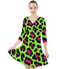 Neon Green Leopard Print Quarter Sleeve Front Wrap Dress	 by allthingseveryone