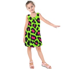 Neon Green Leopard Print Kids  Sleeveless Dress by allthingseveryone