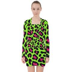 Neon Green Leopard Print V Neck Bodycon Long Sleeve Dress by allthingseveryone