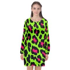 Neon Green Leopard Print Long Sleeve Chiffon Shift Dress  by allthingseveryone