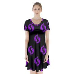 Purple Pisces On Black Background Short Sleeve V-neck Flare Dress by allthingseveryone