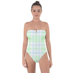 Green Pastel Plaid Tie Back One Piece Swimsuit by allthingseveryone
