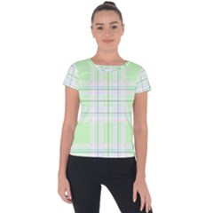 Green Pastel Plaid Short Sleeve Sports Top  by allthingseveryone