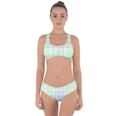 Green Pastel Plaid Criss Cross Bikini Set by allthingseveryone