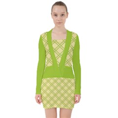 Tartan (yellow And Green)  V Neck Bodycon Long Sleeve Dress by berwies
