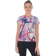 Messy Love Short Sleeve Sports Top  by LaurenTrachyArt