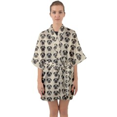 Puppy Dog Pug Pup Graphic Quarter Sleeve Kimono Robe by Celenk