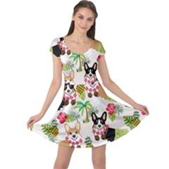 Hula Corgis Fabric Cap Sleeve Dress