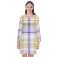 Pink And Yellow Plaid Long Sleeve Chiffon Shift Dress  by allthingseveryone