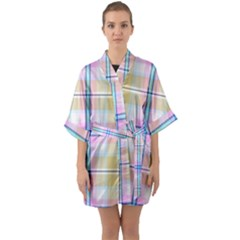 Pink And Yellow Plaid Quarter Sleeve Kimono Robe