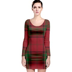 Red And Green Tartan Plaid Long Sleeve Bodycon Dress by allthingseveryone