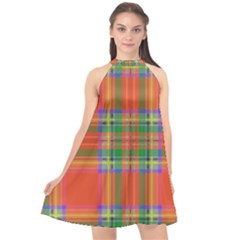 Orange And Green Plaid Halter Neckline Chiffon Dress  by allthingseveryone